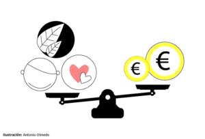 Ilustración con una balanza en referencia a la responsabilidad social corporativa